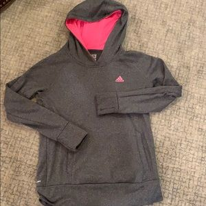Adidas grey and pink hooded sweatshirt